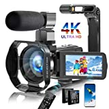 Video Camera Camcorder 4K Digital YouTube Vlogging Camera, 56MP 18X Digital Zoom Camcorder 3 in Touch Screen Camcorder with Microphone Handhold Stabilizer