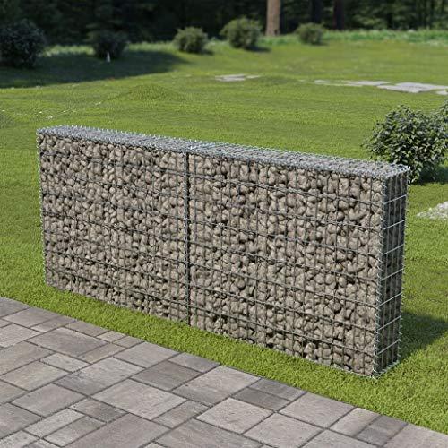 Festnight- Gabionenwand mit Abdeckung   Gabione Drahtkorb   Steingabionen Steinkorb   Verzinkter Stahl 200x20x85 cm