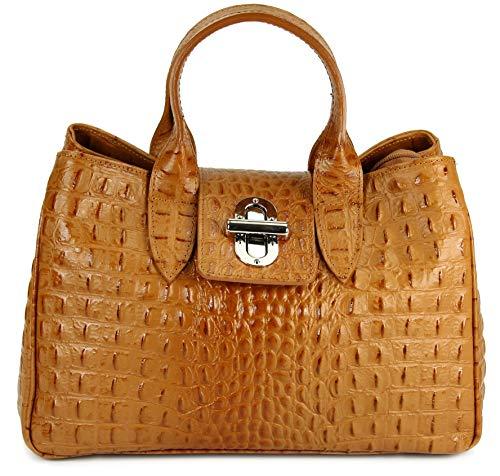 Belli Echt Leder Handtasche Damen Ledertasche Umhängetasche Henkeltasche in cognac braun matt Kroko Prägung - 36x25x18 cm (B x H x T)