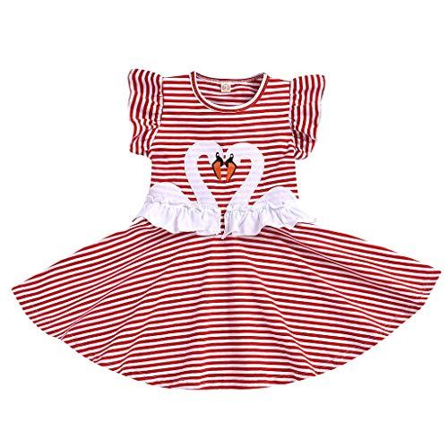 LEXUPE Kleinkind Kinder Baby Mädchen Prinzessin Cartoon Schwan Tierdruck Kleid Outfits Kleidung(B-Rot,90)