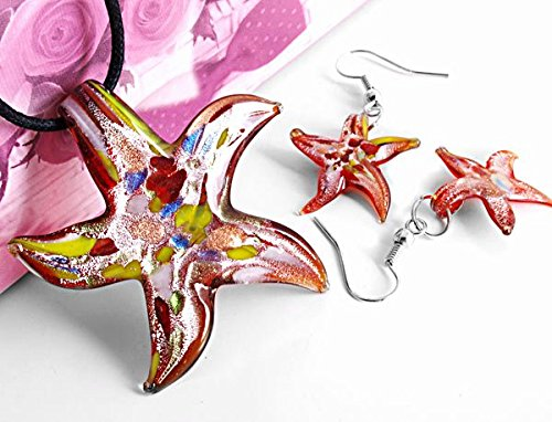 Ecloud Shop® Conjunto Collar Cadena Pendientes Cristal de Murano Estrella Mar Moda