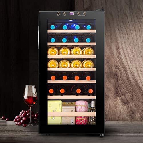 Nuitab Wijnkoelkast, wijnkoeler, koelkast, 27 flessen, 4-18 °C, dranken, koelkast, kelder, chiller, 6 planken, anti-uv-glasdeur, blauwe LED Light Black 48 × 43 × 82,5 cm