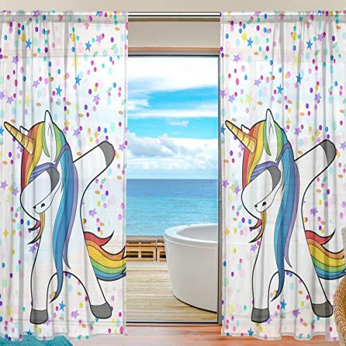 Mnsruu Fenster Gardinen Tanzen Einhorn Mit Stern Dekoration für Wohnzimmer Schlafzimmer Kinderzimmer 55x84 Zoll, Voile Vorhänge 2 Panels