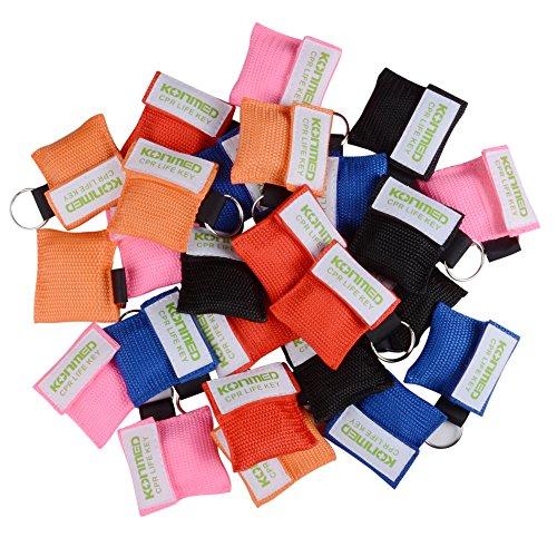 KONMED 50 Stück CPR Maske Beatmungsmaske Schlüsselanhänger Beatmungshilfe Notfalltuch Taschenmaske Erste Hilfe