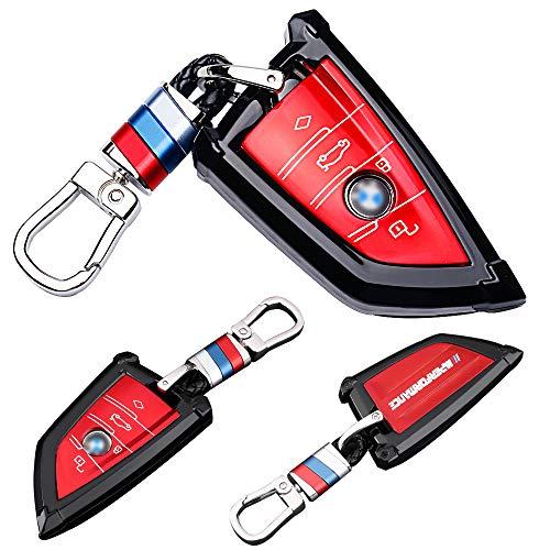 Funda Compatible con BMW, Llave de Coche con Control Remoto de 3 Botones para Keyless BMW Serie 1 3 5 7 X1 X3 X4 X5 F30 E30, Con llavero Protección Total para Llave de Coche Mando de Auto