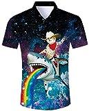 ALISISTER Camisa Hawaiana Hombre Camiseta de Manga Corta Adulto 3D Animal Divertido Impreso Luau Camisas Hombres Verano Aloha Fiesta Retro Ajuste Shirts Delgadas M