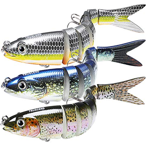 TRUSCEND Fishing Lures for Bass 5.4' Multi Jointed Swimbaits Slow Sinking Hard Lure Fishing Tackle Kits Lifelike (S-8-Combo-S)
