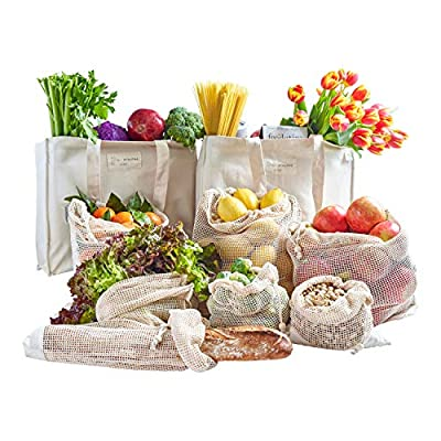 Atalpha Eco 100% Organic Cotton Reusable Grocery Bags 9 Pc Set - Premium Shrink-resistant, Washable & Foldable Shopping Bags with Bottle Sleeves and Reusable Produce Bags with Bonus Muslin Bag