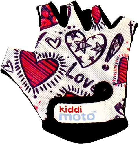 KIDDIMOTO Kinder Fahrradhandschuhe Fingerlose für Jungen und Mädchen/Fahrrad Handschuhe/Bike Kinder Handschuhe - Liebe - S (2-5y)