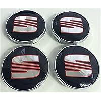 Juego de 4 tapacubos con logotipo cromado de Seat, 60 mm, Ibiza, Leon, Alhambra, Arosa, Altea, Mii, Toledo y otros modelos