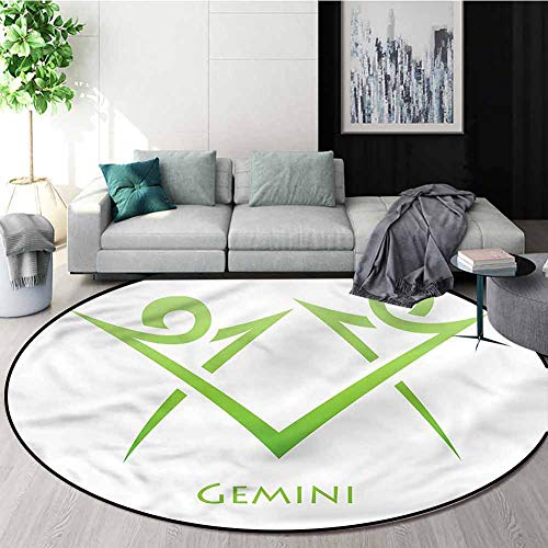 For Sale! Zodiac Gemini Washable Creative Modern Round Rug,Green Simplistic Floor Mat Home Decor Dia...
