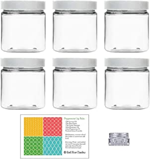 Clear 8 oz Plastic Jars with White Lids (6 pk) with Balm Jar - PET Round Refillable Containers
