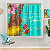 Thermal Insulated Curtains & Drapes 72 inches Long Window Treatment for Living Room Ukulele with Hawaii Style Background