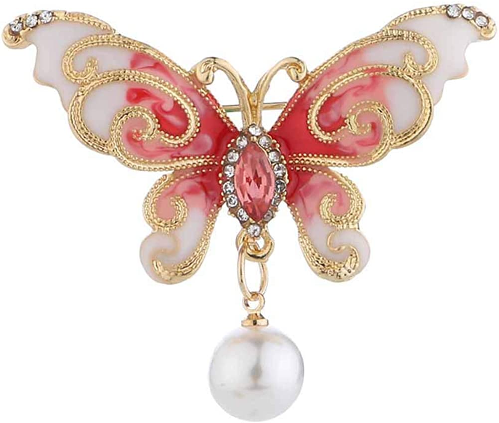 YOUYUZU Vintage Butterfly Brooch Japan Maker New Jewelry and Pea Outlet sale feature Faux Rhinestone