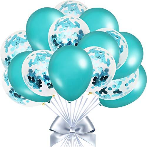 50 Piezas Globos de Decoracion de Fiesta Globos de Látex Verde Azulado Globos Confeti Globos de Color Turquesa Decoración de Color Turquesa para Compromiso Boda Cumpleaños Vacaciones