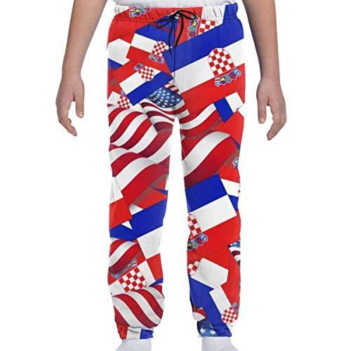 Yesbnow Jugend Jogginghose Jogging Bottom Sport oder Loungewear Hose, Kroatien Flagge mit Amerika Flagge Trainingsanzug Bottoms für Jungen Mädchen Teenager