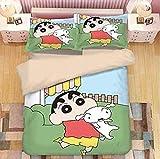 YOMOCO Crayon Shin-chan - Juego de ropa de cama infantil (microfibra, 1 funda nórdica, 2 fundas de almohada (A01,135 x 200 cm + 50 x 75 x 2 cm)