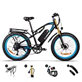 cysum m900 1000W Elektrofahrrad für Erwachsene Männer Frauen,26 * 4,0 Zoll Fat Reifen Mountainbike, 48V 17Ah Pedalunterstütztes, Dual Suspension All Terrain Ebike, Scheibenbremse…