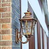 Fxny Pared de cristal europea tradicional de bronce al aire libre de la lámpara retro Victoria...