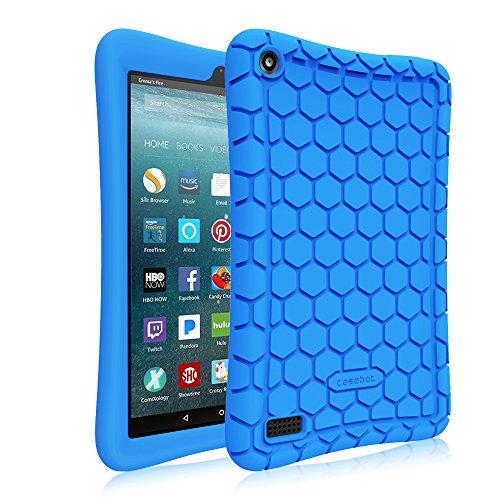 Fintie Silikon Hülle für Amazon Fire 7 Tablet (7-Zoll, 7. Generation, 2017) - Leichte Rutschfeste Stoßfeste Silikon Tasche Case Kinderfre&liche Schutzhülle, Blau