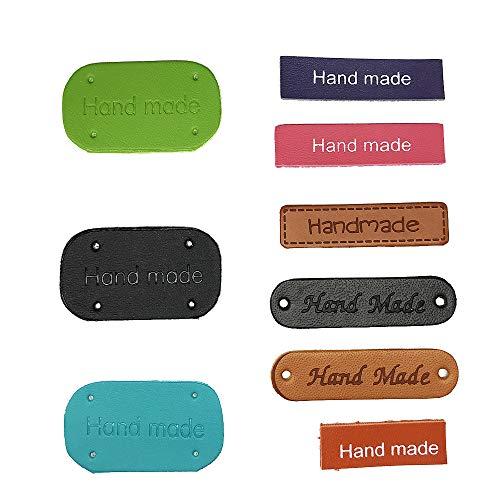 Juland 45PCS PU Label Leder Etiketten PU-Lederetikett Kleidung Hand Made Label Handgemachte geprägte Marke mit Löchern Verzierung Stricken für Jeans Taschen Schuhe Mütze - Mehrere Farben