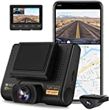 AQP Dual Dash Cam, Full HD 1080P Car Camera Front and Rear for Cars, Dashboard Camera Recorder with GPS & WiFi, 170°/150° Wide Angle, Motion Detection, G-Sensor, Loop Recording, Parking guard, WDR