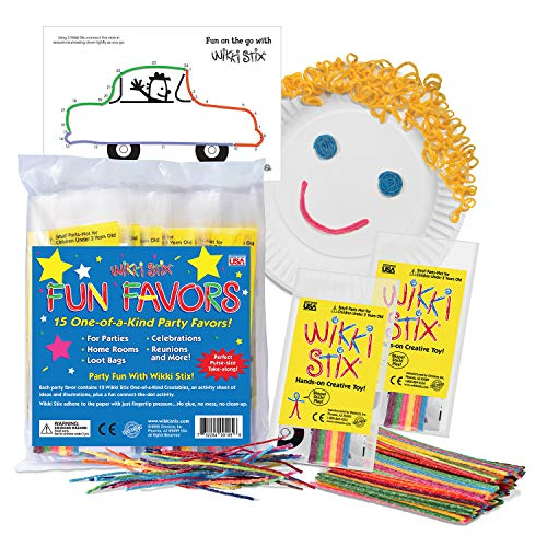 Arts and Crafts for Kids Party Favor Pack, Non-Toxic, Waxed Yarn, Fidget Toy, Reusable Molding and Sculpting Playset, American Made by Wikki Stix, Pack of 15, 12 Stix in Each