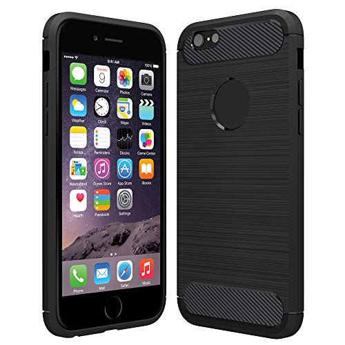 Hianjoo Cover Compatibile per iPhone 6/6s, Custodia Morbida Anti-Graffio TPU Sottile Invisibile con Bordo Protettiva Case Custodia per iPhone 6/6s - Nero