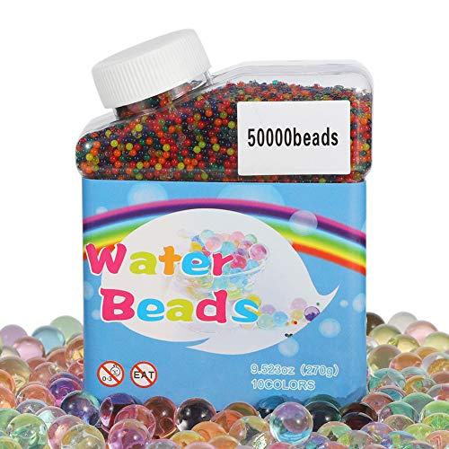 sisn 50000 Stück Wasserperlen, Gel Wasser Perlen Balls Bunte Wassergel-Kugeln Mix Aquaperlen für Pflanzen, Vasen, Dekoration