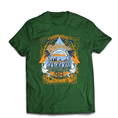 lepni.me Camisetas Hombre Primer día de California - Explorador de la bahía Costera - Ropa de Surf (XX-Large Verde Oscuro Multicolor)