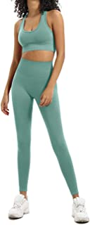 HAODIAN Women's Workout Yoga Sets 2 Piece Outfits Leggings Sports Bra Gym Clothes Sets