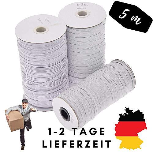 4Good Qualitäts Flachband Flachgummi 5mm breite, 5 Meter zum Nähen und Basteln. Sehr elastisch und annehm zu Tragen. Gummilitze 5mm breit Gummi Bändel 5 Meter