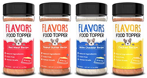 Beaumont Basics Flavors Food Topper for Dogs - All 4 Recipes Gift Pack - Natural, Human Grade, Grain Free - Perfect Seasoning, Gravy, and Kibble Sprinkle for Picky Dog- Pack of 4-3.1oz Bottles