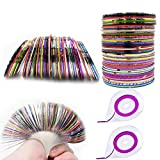 Luxtrip 60 Colors Nail Striping Tape Line 2 Pieces Nail Tape Dispensers Free Tape Roller Dispenser Striping Tape Line Nail Art Decoration Stickers Nail Art Decoration Sticker DIY Nail Tip