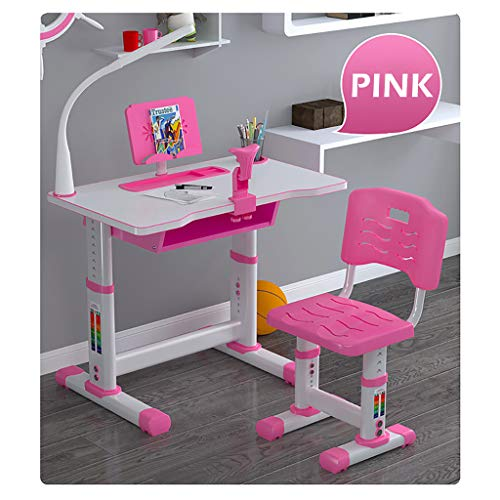Kids Desk and Chair Set, Functional kids Table and Chair Set, Height Adjustable Children Study Desk with Tilt Desktop, Bookstand, Eye Protection Lamp and Storage Drawer for Boys Girls