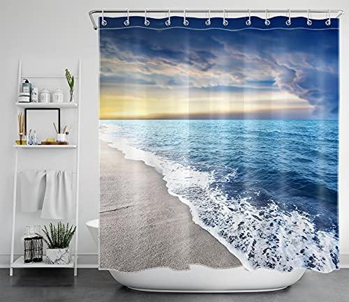 LB Blaues Meer Duschvorhang Antischimmel Wasserdicht Badezimmer Vorhänge Meereswelle am Strand 240x175cm Extra Breit Polyester Bad Vorhang mit Haken