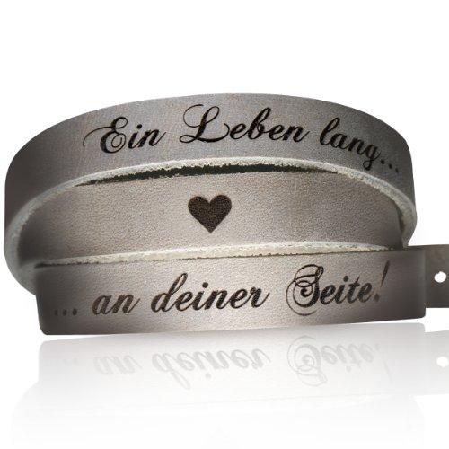 schenkYOU® Wickelarmband aus samtweichem grauen Leder - Armband vorgraviert mit Liebesspruch: EIN Leben lang an deiner Seite!