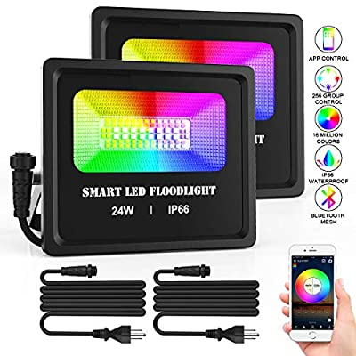 RGB LED Flood Light 24W 6500K&16 Million Color Changing Stage Lights, Bluetooth Smart Outdoor Lights for Party, Tree light, Spot lights, IP66 Waterproof, US Plug