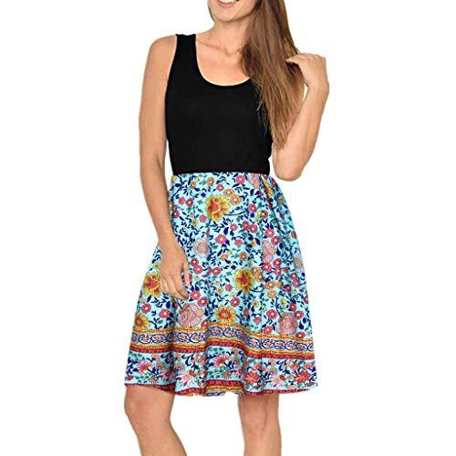 Damen Kleider Sommer V-Ausschnitt Ärmelloses Weste Sexy Kleider Damen Strandkleid Boho Print Lose Baumwolle Nähte Kleid MiniTank Kleid (EU:44, Hellblau)