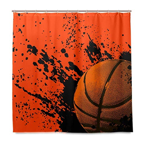 N\A Grunge Baloncesto Graffiti Naranja Tejido de poliéster Cortina de Ducha Conjuntos con Ganchos Impermeable Moho Decoración de baño