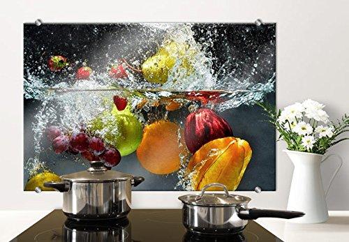K&L Wall Art Herd Spritzschutz Glasbild Küche Küchenrückwand Glas Motiv 80x60cm mit Klemmbefestigung Edelstahl