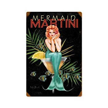 Mermaid Martini Sexy Pinup Girls Vintage Metal Sign 12 X 18 Steel Not Tin