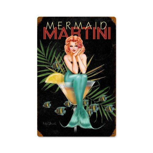 Mermaid Martini Sexy Pinup Girls Vintage Metal Sign