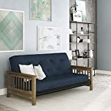 DHP Newport Wood Arm Futon Frame, Includes 6-Inch Coil Futon Mattress in Blue Linen Upholstery - Full Size