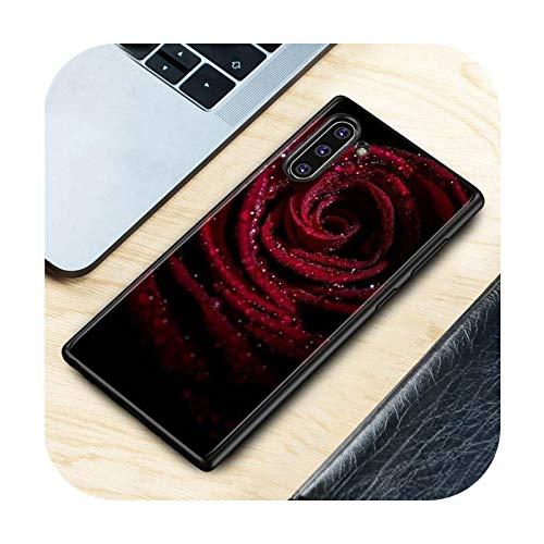 Phonecase - Carcasa de silicona para Samsung Galaxy Note 10Plus 10, 9, 8, S10, 5G, S9, S8 Plus, S7, S6, diseño de rosas, color negro