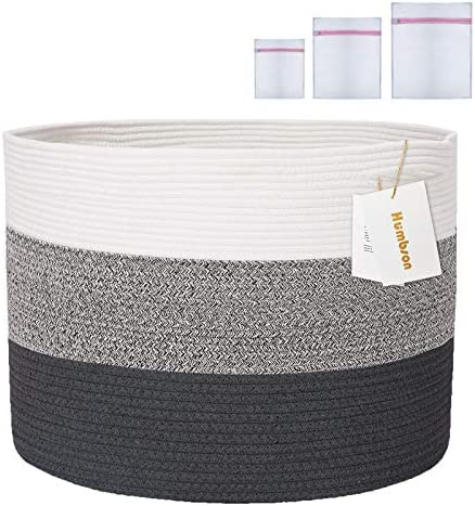 Humbson Extra Large Cotton Rope Basket with Handle 21 7 21 7 13 8 inches Blanket Basket Toy product image
