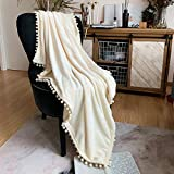 LOMAO Flannel Blanket with Pompom Fringe Lightweight Cozy Bed Blanket Soft Throw Blanket fit Couch Sofa Suitable for All Season(Ivory, 51''x 63'')