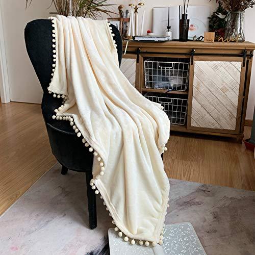 LOMAO Kuscheldecke Fleecedecke Flanell Decke Pompoms Einfarbig Wohndecken Couchdecke Flauschig Überwurf Mikrofaser Tagesdecke Sofadecke Blanket Für Bett Sofa Schlafzimmer Büro (Cremeig, 130*160cm)