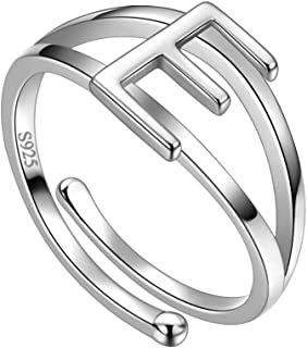 Jewmon Personalized Initial Letter Open Ring Adjustable Women Statement Rings Party 925 Sterling Silver Open Alphabet Rings Letter A to Z Ring Jewerly Gift