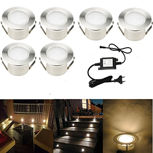 SUBOSI FVTLED 6er Set Ø61mm Led Bodenstrahler Bodeneinbauleuchten Boden Licht IP67 DC12V Wasserdicht Einbauleuchten Außen Terrasse Küche Garten Lampe